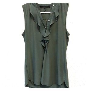 WHBM Olive Sleeveless blouse with Ruffle XS